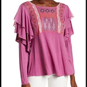 🆕Free People La Cienega Front Embroidery Blouse